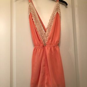 NWT orange romper with lace